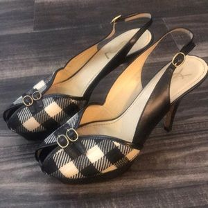 YSL Black and White Peep Toe Slingback Shoe 37